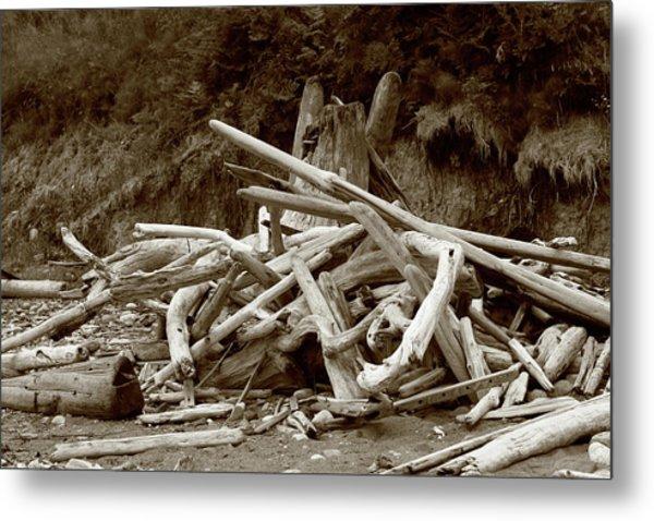 Driftwood Pile San Juan Metal Print