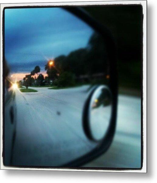 #driving #mirrior #sunset #clouds Metal Print