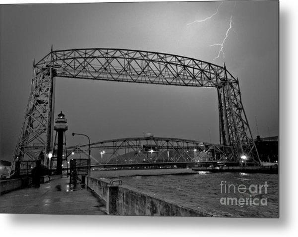 Duluth Lift Bridge Under Lightning Metal Print