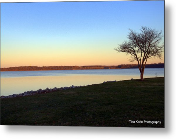 Dusk At The Lake Metal Print by Tina Karle