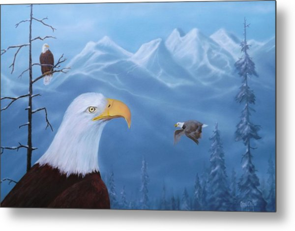 Eagles In The Tetons Metal Print
