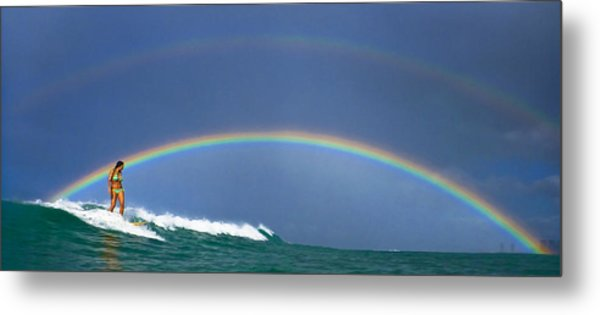 Ealy Morning Rainbow Surf Metal Print by Li Ansefelt Thornton