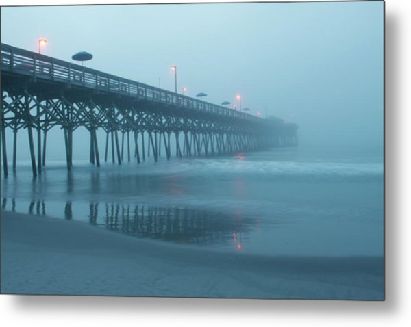 Early Morning Fog At Garden City Pier Metal Print