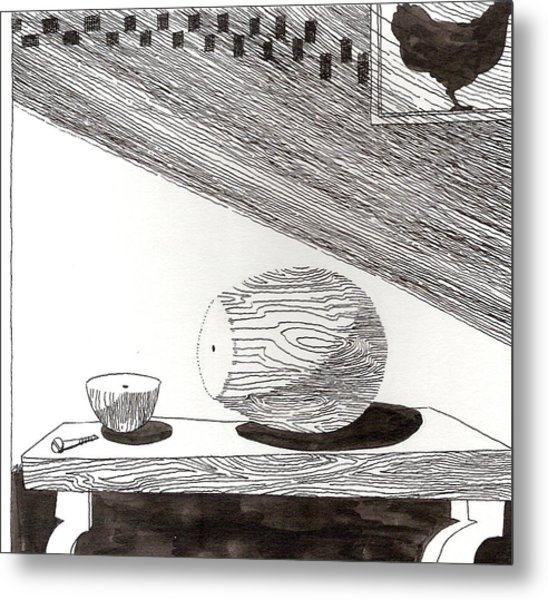Egg Drawing 019613 Metal Print