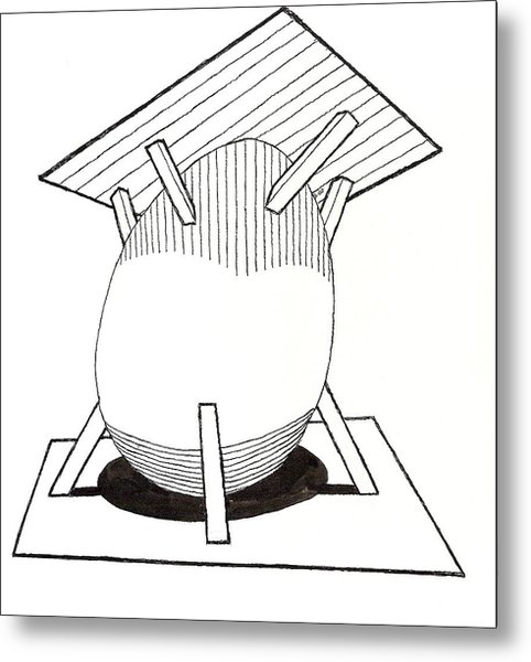Egg Drawing 030037 Metal Print