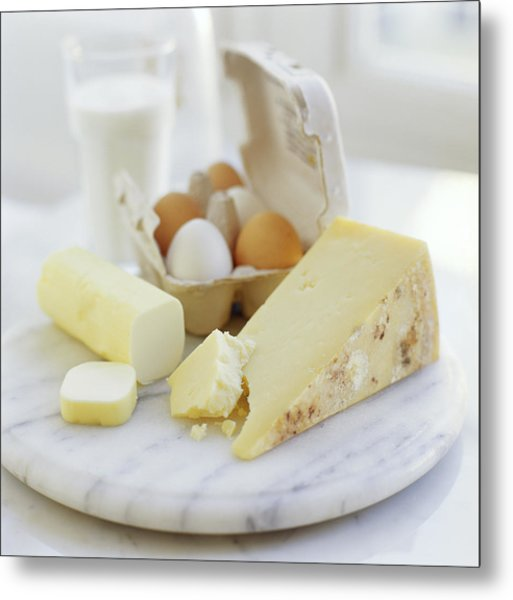 Eggs And Cheese Metal Print by David Munns