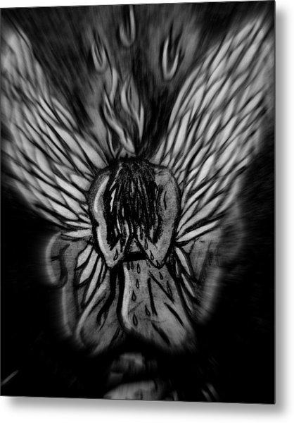 El Angel Black And White Metal Print by MikAn 'sArt