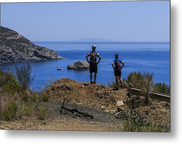 Elba Island - Mtb Bikers Looking The Far Away Island - Ph Enrico Pelos Metal Print