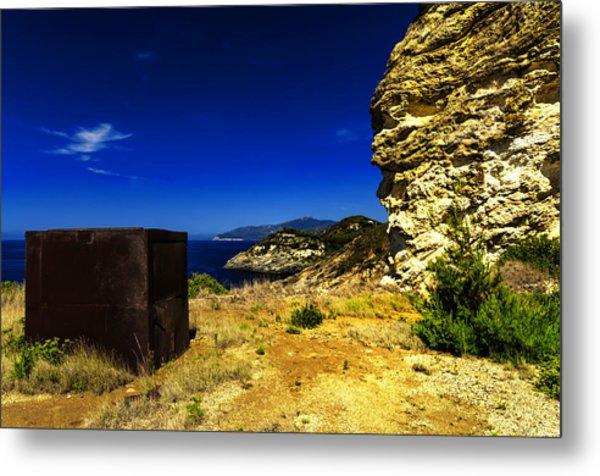 Metal Print featuring the photograph Elba Island - Rusty Iron Cube Landscape - Ph Enrico Pelos by Enrico Pelos