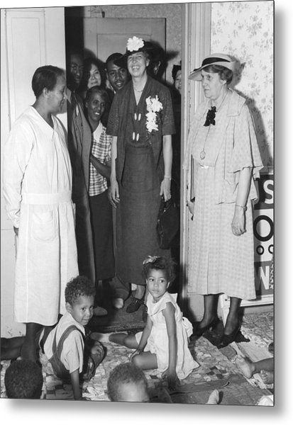 Eleanor Roosevelt Visiting A Wpa Works Metal Print by Everett