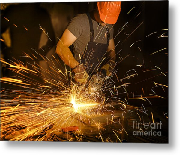 Electric Grinder In Action Metal Print