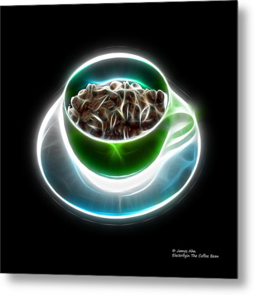 Electrifyin The Coffee Bean -version Green Metal Print