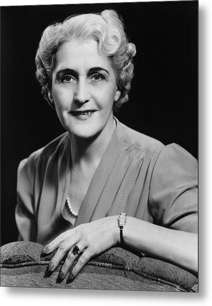 Elegant Mature Woman Smiling, (b&w), Portrait Metal Print by George Marks