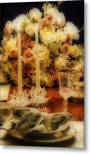 Elegant Tablesetting Metal Print by Trudy Wilkerson