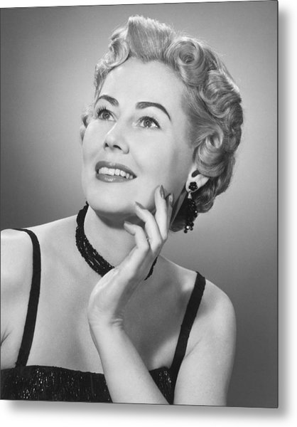 Elegant Woman Posing In Studio, (b&w), Portrait Metal Print by George Marks