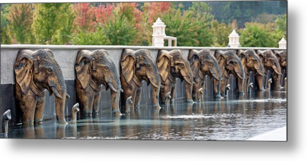 Elephants Of The Mandir Metal Print