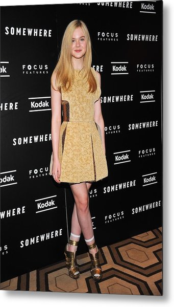 Elle Fanning Wearing A Rodarte Dress Metal Print by Everett