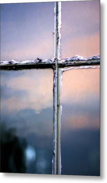 Empty Cross On The Window Of An Old Church Metal Print