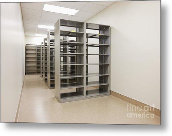 Empty Metal Shelves Metal Print