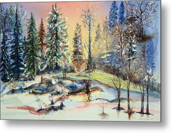 Enchanted Forest At Sunset Metal Print