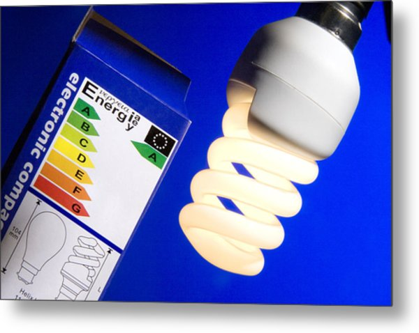 Energy-saving Light Bulb Metal Print