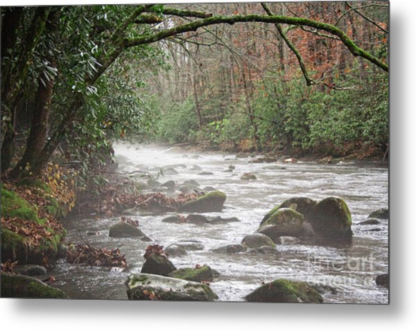 Enhanced Fog On The River Metal Print