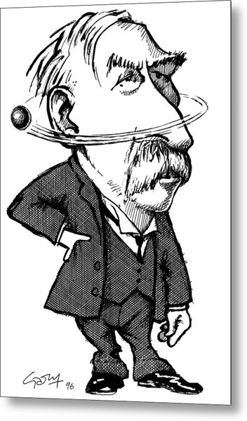 Ernest Rutherford, Caricature Metal Print by Gary Brown