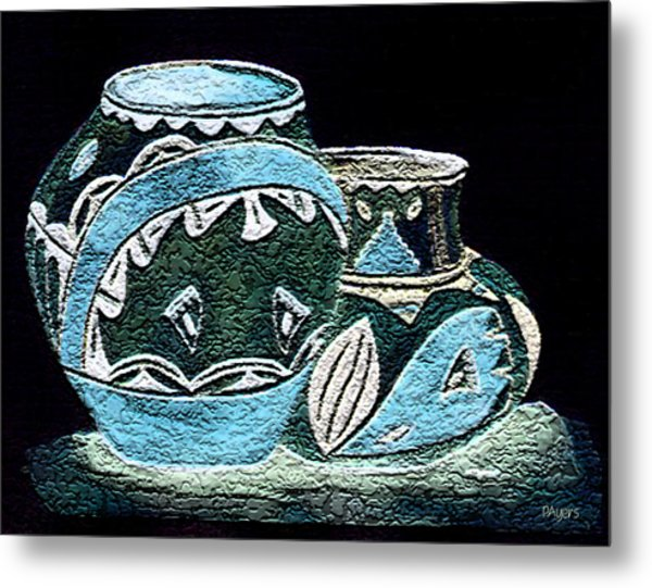 Etched Pottery Metal Print