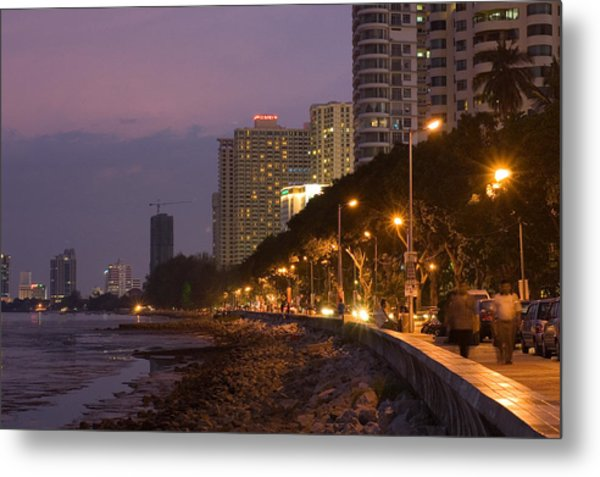 Evening Falls Over Water Front Buildings Metal Print by Austin Bush
