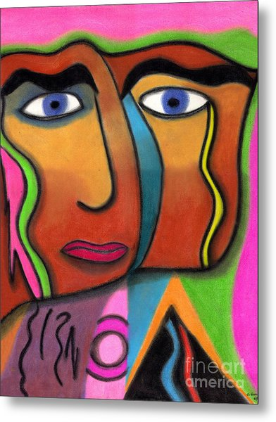 Face With Pink And Green Background Metal Print