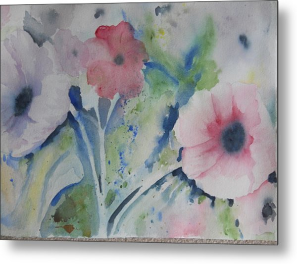 Faded Poppies Metal Print