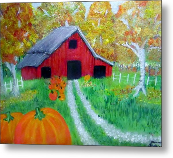 Fall And Pumpkin Harvest Metal Print by Donna Jenkins