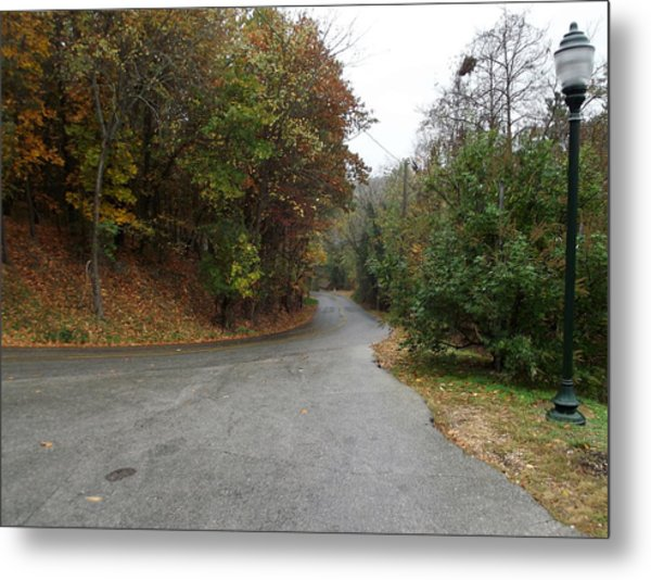 Fall Country Lane Metal Print by CGHepburn Scenic Photos