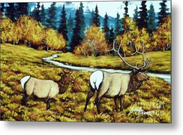 Fall Elk Metal Print by Bobbylee Farrier