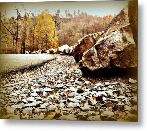 Fall Road Metal Print by Becky Foster