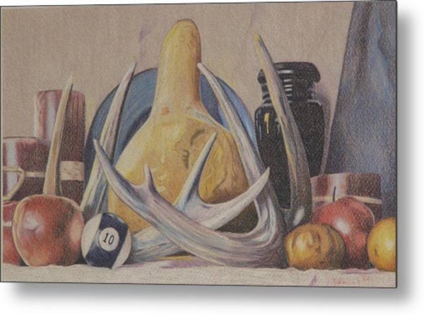 Fall Still Life With Antlers Metal Print