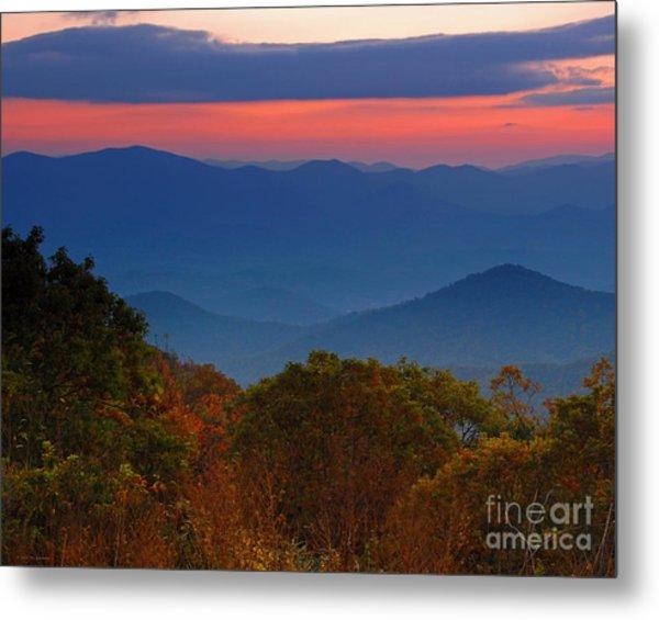Fall Sunset Sky At Brasstown Bald Georgia Metal Print