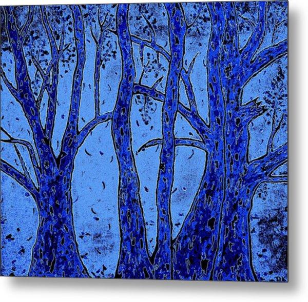 Falling Leaves Blue Metal Print