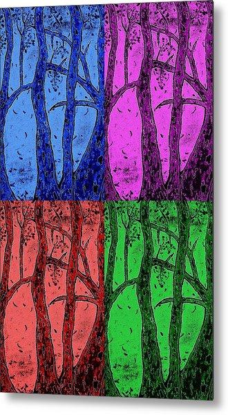 Falling Leaves In Four Colors Metal Print