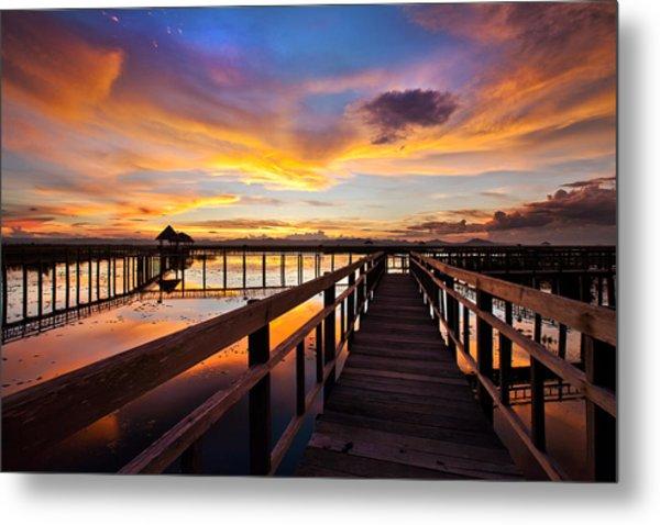 Fantastic Sky On Wood Bridge Metal Print by Arthit Somsakul