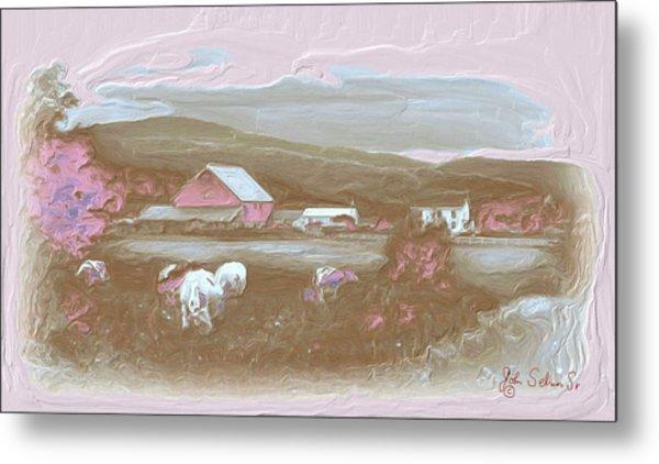 Farm   In Pink Metal Print