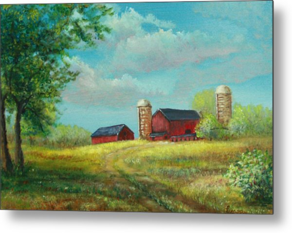 Metal Print featuring the painting Red Barns by Katalin Luczay