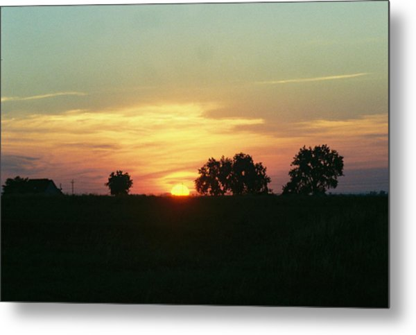 Farm Sunup Metal Print by Trent Mallett