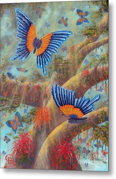 Feather Butterflies From Arboregal Metal Print by Dumitru Sandru