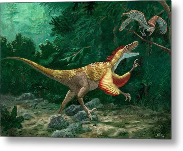 Feathered Dinosaurs Metal Print by Chris Butler