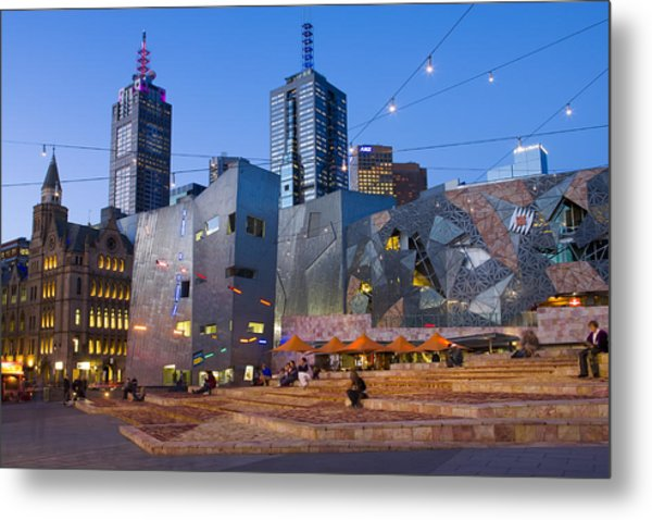 Federation Square At Dusk Metal Print by Greg Elms