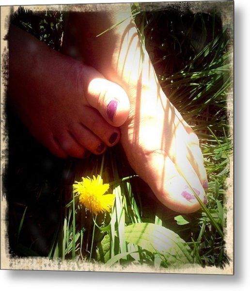 Feet In Grass - Summer Meadow Metal Print
