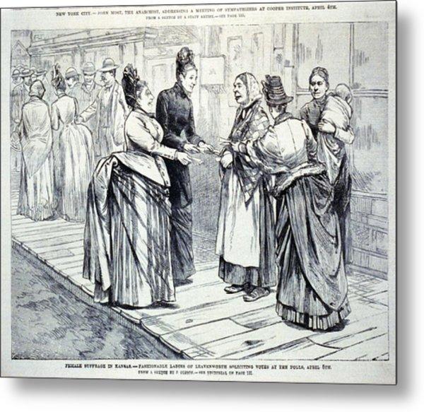 Female Suffrage In Kansas. Ladies Metal Print by Everett