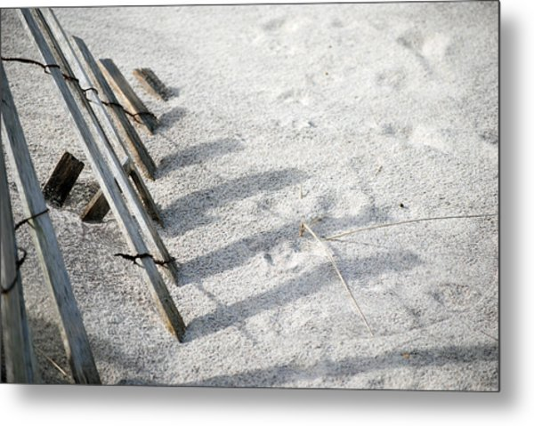 Fence And Shadow Metal Print