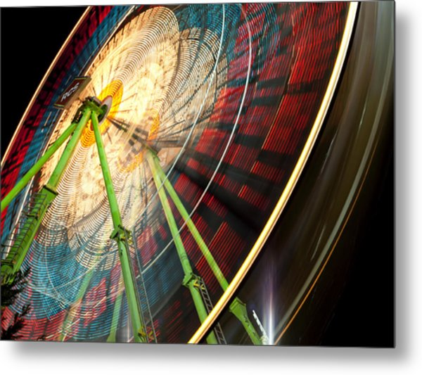 Ferris Wheel At Night Metal Print